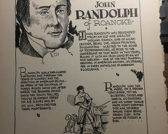John Randolph The Virginian of Virginians 1933 book page removed ftom a damaged book. Art  history