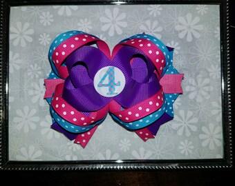 Birthday Bow, girls birthday bow,birthday hair bow, birthday hairbow, purole and pink birthday bow, turquoise and purple birthday hairbow