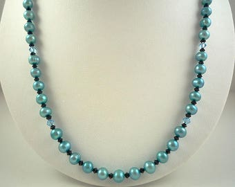 Blue Pearl Necklace Blue Freshwater Pearl Necklace Pearl Crystal Necklace Teal Blue Pearls Light Blue Pearl Strand Blue Black Pearl Jewelry