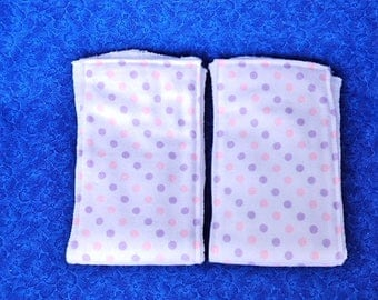 Set of Burp Cloths, Cloth Diapers with Flannel, Polka Dots Pink and Purple