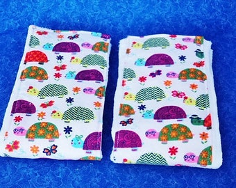 Set of Turtle Burp Cloths, Cloth Diapers with Flannel, Whimsical Turtles