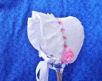 White Eyelet Infant Baby Bonnet with Pink Flowers and Lace