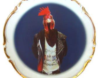 """Cock Portrait Plate 8"""""""