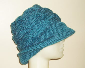 Hand knit hat Emerald hat woman Hat Winter fedora hat with brim hat