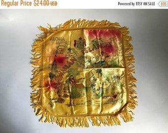 "Mid Century ALOHA HAWAII Yellow Satin Souvenir Pillow Sham for an 18"" square Pillow"