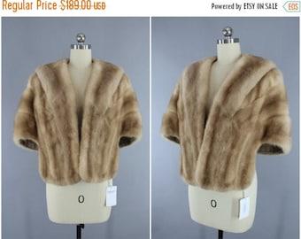 FLASH SALE - Vintage 1940s Fur Stole / 1950s Fur Shawl Wrap / Tan Light Brown / Winter Wedding / Wolf's Furs Des Moines / Mid-Century Mad Me