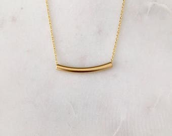 Gold Tube Necklace - Modern Gold Necklace - Minimalist Gold Necklace
