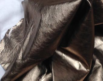 SHRM738.  Antique Pewter Metallic Leather Lambskins
