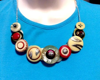 Summer Silly Button Necklace