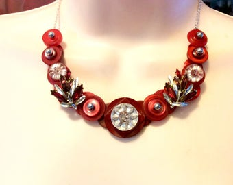 Lady in Red button Necklace