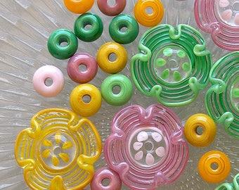 Flowers Lampwork Glass Beads, FREE SHIPPING, Handmade Lampwork Flower beads, Pink, Green, Yellow - Rachelcartglass