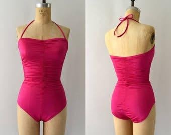Vintage 1980s Bathingsuit - 80s DeWeese Hot Pink Swimsuit