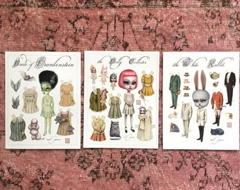 Set of Three Paperdolls - Special - Bride of Frankenstein, Dolly Collector, White Rabbit paper art doll sheet set - by Mab Graves
