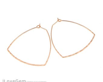 NP-1932 Rose Gold, 40mm, Hammered, Triangle, Earring Hooks, Ear wires, Hoop Earrings, 2pcs