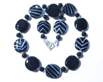Navy Blue and White Beaded Necklace, Ceramic Jewelry, Kazuri Bead Necklace, Statement Necklace