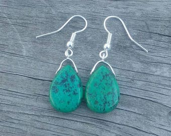 Green Jasper French Hook Earrings
