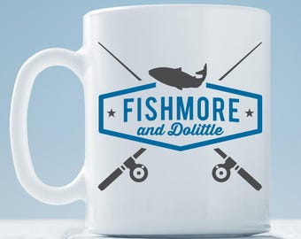 Fishmore & Dolittle Coffee Mug ~ Fishing Mug ~ Retirement Gift ~ Going Fishing Coffee Mug