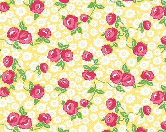 Dainty Darling Fabric by Lindsay Wilkes from The Cottage Mama for Riley Blake Designs and Penny Rose Fabrics - Yellow Main Floral