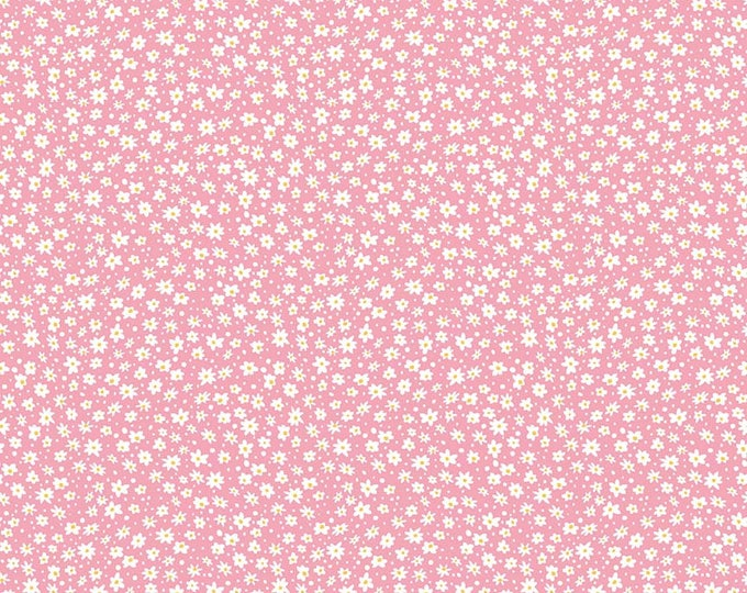 PRE-ORDER - Mae Flowers Fabric by Lindsay Wilkes from The Cottage Mama for Riley Blake Designs and Penny Rose Fabrics - Pink Daisy