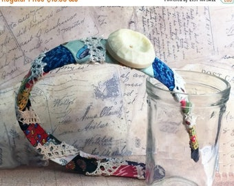 ON SALE 50% OFF Vintage Feed Sack Fabric Headband - Pieced Quilt Fabric Headband -  - Vintage Hair Accessory - Vintage Button - Feed Sack Pi