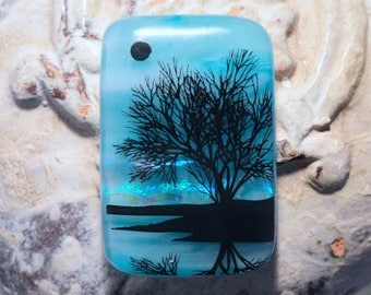 RESERVED Fused Dichroic Glass Cabochon..REFLECTION TREE...Dichroic Cab for Jewelry Designers