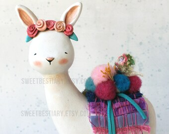One of a kind art toy - Fantasy creature - Bunnyllama - Animal totem - Clay animal - Bunnybrid- Llama and bunny hybrid