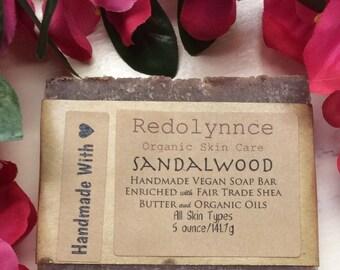 Sandalwood--Organic Goat Milk Soap Bar made with Essential Oils. GMO free.
