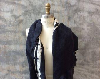 Asymmetrical twist drape scarf- wool
