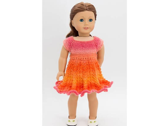18 inch Doll Clothes , Knitting Pattern for American Girl Doll, Doll Dress Pa...