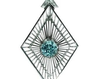 ON SALE Vintage artist pendant white gold blue Starlite zircon by Chris Steenbergen