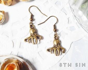 Antique Bronze Octopus Earrings, Bronze Ocean Earrings, Sea Creature Earrings, Aquarium Earrings, Merpunk Earrings, Marine Biologist Gift