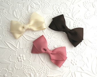 "Fall Hair Bows ~ Brown, Mauve & Ivory Baby Toddler 3"" Simple Flat Style Hair Bow Clips"