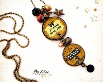 Necklace cabochon • Abracadabra • magic fairy star necklace black gold mustard yellow bow glass