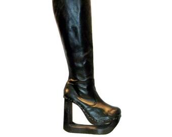 Cybergoth Clubkid 90s Platform Boots Vintage NYLA Womens Knee High Black Leather Cutout Wood Bottom Platform Boots Wms US Sz 11 Made in USA