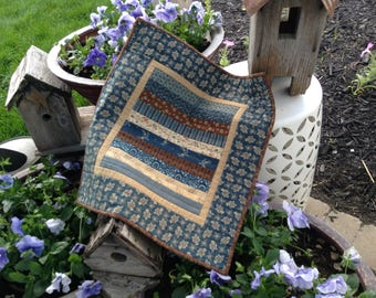 "CIVIL WAR Reproduction QUILT, Blues and Browns, 17 3/4"" x 19 1/2"", Quilted Wallwarmer, Quilted Table Mat, Traditional Striped Quilt,"