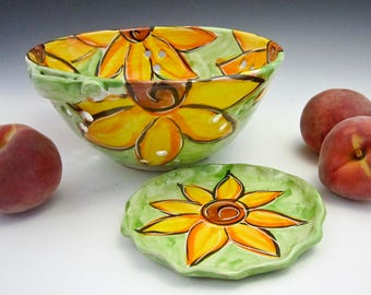 Ceramic Colander - Pottery Berry Strainer - Yellow Sunflowers - Strainer - Clay Fruit Bowl - Majolica Bowl - Gift for Mom - Floral Colander