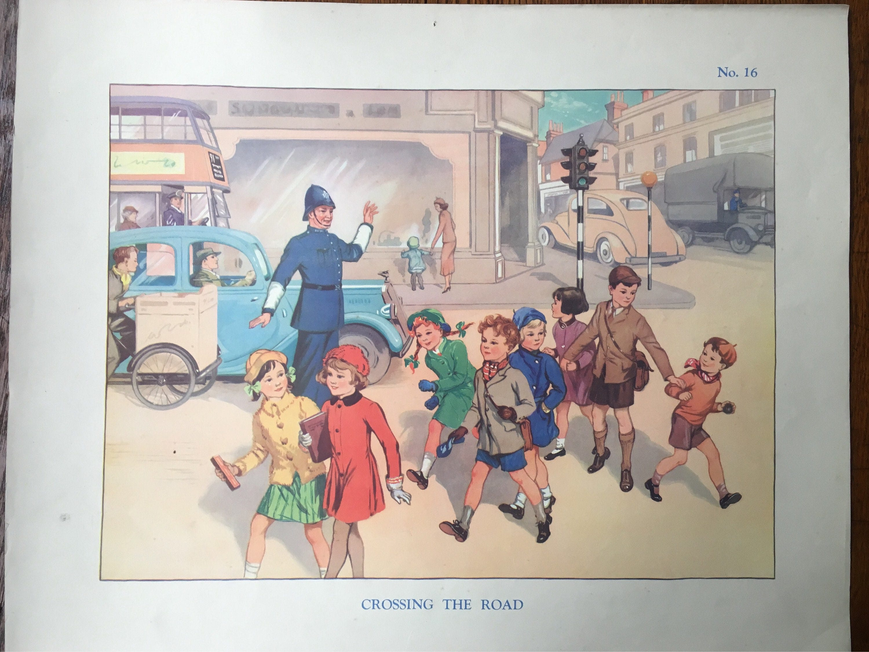 VINTAGE School Poster Wall Chart CROSSING The ROAD