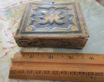 "small 3.25"" x 3.5"" antique gem album -1800s tintype album, blue leather"