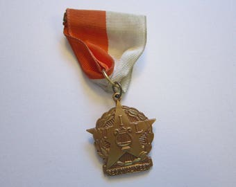 vintage band medal and ribbon - UIL Regional Meet - lyre medal with ribbon on pin