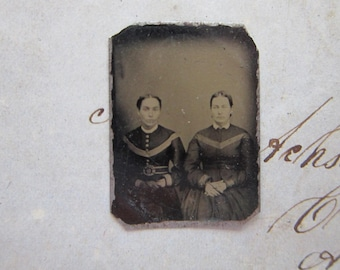 antique GEM tintype photo - miniature tintype photo - two women, sitters - gft29