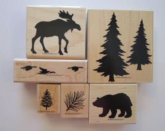 6 rubber stamps - OUTDOORS WILDLIFE - Stampin Up 1998 - moose, pine trees, bear, geese, pine needles, pinecone