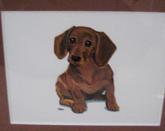 Adorable Dachshund Print-matted and framed-by Zappa-SAle