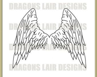 INSTANT DOWNLOAD Digi Stamps Digital Stamps Angels Wings Digital Stamp by Dragons Lair Designs - Fantasy, Angels, Wings, Angels Wings
