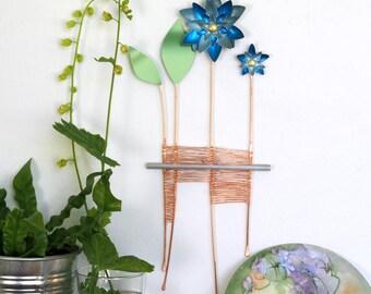 In Full Bloom #7– Blue Flower Sculpture – Metal Wall Art