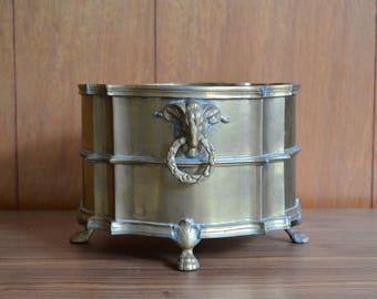 vintage hollywood regency brass ram planter dish / brass ram / brass bowl