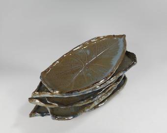 Pottery tapas plates, ceramic leaf shaped snack dishes, pottery dessert plates, stoneware leaf plates, elephant ear pottery, set of 6