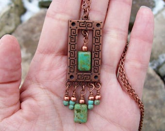 Gypsy Pendant, Rectangle Copper Pendant Necklace with Magnesite Gemstones and Picasso Czech glass Dangles, Gypsy Necklace, Copper Jewelry
