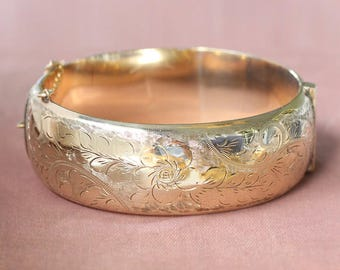 Vintage 9ct Rolled Gold Bangle, Swirling Vine and Floral Engraved Wide Cuff Bracelet - English Garden