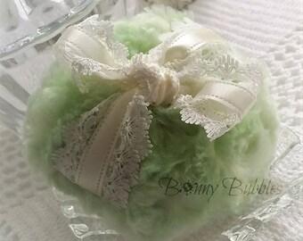 KEY LIME Powder Puff - Key Lime and Ivory - light green dusting pouf - vert et creme - gift box option - by BonnyBubbles