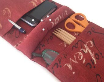 Knitter's Armchair Caddy Red French Script Fabric with Pin Cushion Arm Rest Organizer Needlecraft Caddy Knitting Organizer with Pockets